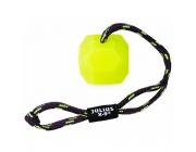 Neonska IDC® žoga za pse na vrvici z ročajem
